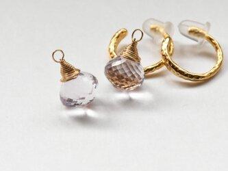 ☆[EC] Pink Amethyst (onion cut) Ear Clipsの画像