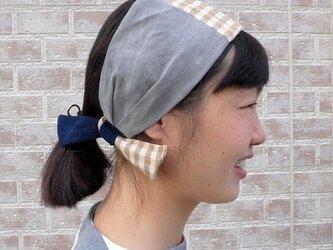 ☆SALE☆綿と麻の切り替えヘアバンドの画像