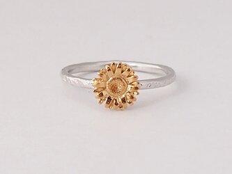 【7号】向日葵ひまわりの指輪SV925製ゴールドメッキの画像