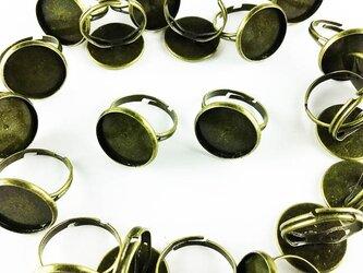 送料無料 リング パーツ 指輪 ミール皿 台座付き 金古美 20個 アンティーク ゴールド サイズフリー AP0420の画像