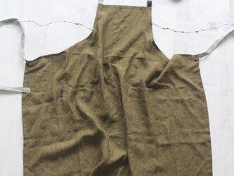 高級リトアニアリネンで作製した男女兼用フルエプロン【オリーブ】の画像