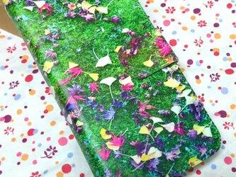 全機種対応 手帳型スマホケース *緑と葉*の画像
