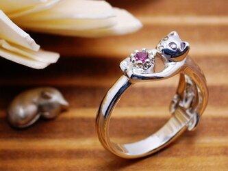猫の贈り物/10月の誕生石 ピンクトルマリン シルバーリングの画像