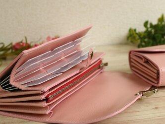 使いやすい長財布 【ベーシック Pat.Mege ピンク】 国産レザー 革 日本製 メンズ レディースの画像
