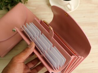 使いやすい長財布 【ベーシック Pat.Origin ピンク】 国産レザー 革 日本製 メンズ レディースの画像