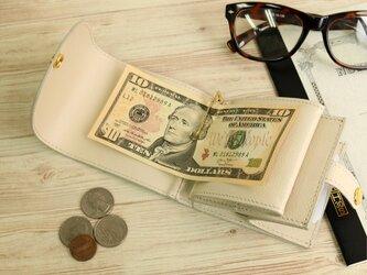 マネークリップ 小さい財布 【ベーシック Pat.mini アイボリーホワイト】 国産レザー 日本製 メンズ レディースの画像