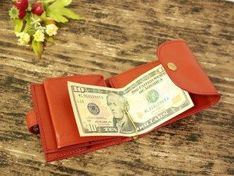 マネークリップ 小さい財布 【ベーシック Pat.mini レッド】 国産レザー 日本製 メンズ レディースの画像