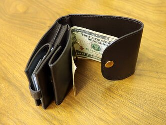 マネークリップ 小さい財布 【ベーシック Pat.mini ダークブラウン】 国産レザー 日本製 メンズ レディースの画像