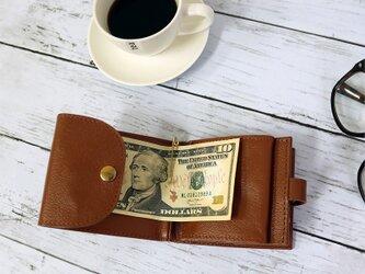 マネークリップ 小さい財布 【ベーシック Pat.mini キャメル】 国産レザー 日本製 メンズ レディースの画像
