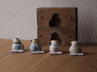 【神無月・新作】伝書鳩(瑠璃) ※受注制作 / 国産ヒノキの木箱入りの画像