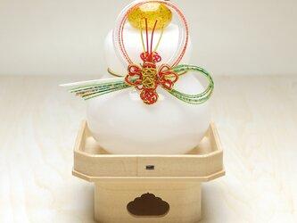 【受注制作】吹きガラス鏡餅╱三方台付き(海老B)※納期約1週間~の画像