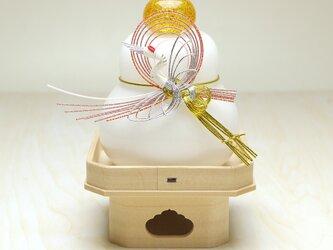 【受注制作】吹きガラス鏡餅・三方台付き(鶴)※納期約1週間~の画像