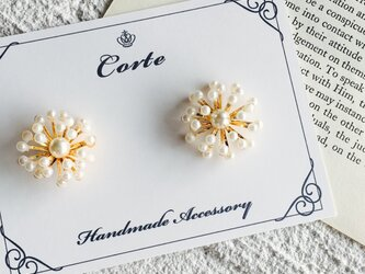 snow pearl- flower ピアスorイヤリングの画像