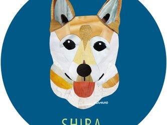 柴犬3:青《犬種名ステッカー/小型犬》の画像