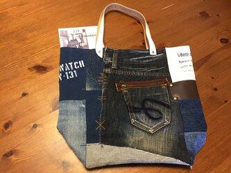 【送料無料】最新作☆デニム&倉敷8号帆布トートバッグ Lサイズ  mature白革#04の画像