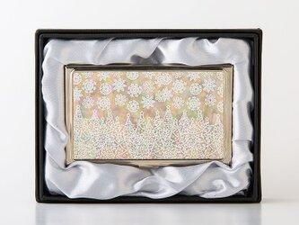 クリスマス限定★天然貝 名刺カードケース(ホワイトクリスマス)<螺鈿アート>の画像
