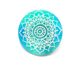 【送料無料】モロッコ風模様のブローチ ブルー×グリーンの画像