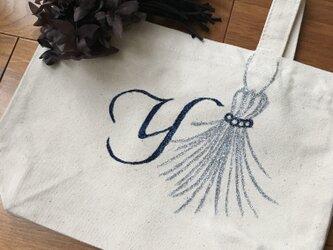 キラキラジュエリーデコのトートバック(アルファベット1文字)の画像