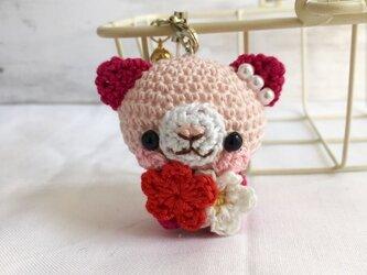 【受注生産】淡ピンク・ルビー色ネコさん*鈴付きイヤホンジャックストラップの画像