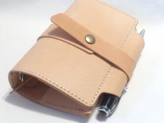 ミニ6穴 筒状ペンホルダーのシステム手帳 パスポートケース SN6-001ki ヌメ革生成り ノートの画像