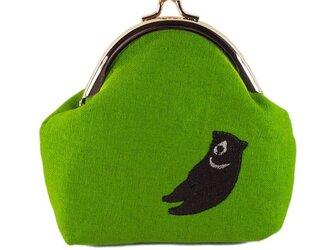 いねむりくまのがま口財布M(ツキノワグマ×ライムグリーン)の画像