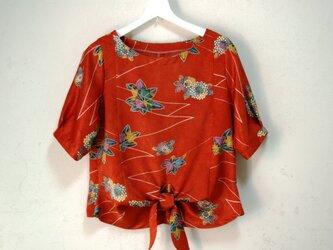 絹 菊と紅葉の秋色ブラウス Mサイズの画像