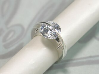 The Dividing Line Ring Silver CubicZirconia【受注制作】の画像