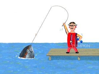 Mrマッスル-さかなつり M-A4-02  アクリル画 CG イラスト 魚  マグロ の画像