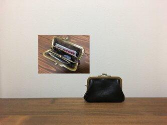 上質牛革 mini親子がま口財布★カンなし 黒の画像