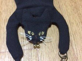 小さながま口の猫マスコット黒色の画像