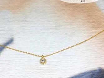 14kgf キュービックジルコニアの一粒ネックレスの画像