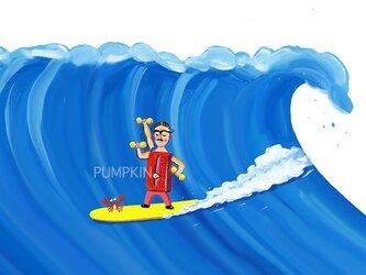 Mrマッスル-波乗り M-A4-03  アクリル画 CG イラスト サーフィン 波乗り 湘南 カニ の画像