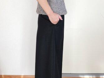 【予約販売】【秋冬】ウールのワイドパンツ ダークネイビーの画像