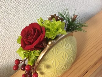 FUKU-PONお正月アレンジ★イエロー【プリザ+造花】の画像