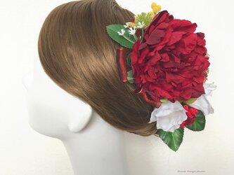 成人式・結婚式・卒業袴に♡赤い芍薬と椿のヘッドドレス(12点セット)の画像