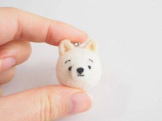 まゆ白柴犬 携帯クリーナーストラップ 羊毛フェルト(アクレーヌ製)※受注製作の画像