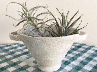 nacchico#019/ツルンと光沢のある質感*大きめカップ型の白い器・花器・花びんの画像