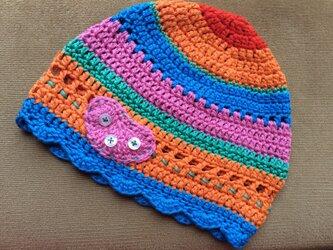 子ども用コットン手編み帽子の画像