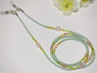 グラスコード◆淡いグリーン系とピンクのジュエリーなメガネチェーンの画像