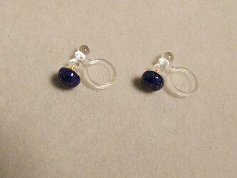 再販:宝石質ラピスラズリカボションイヤリング(5ミリ)の画像
