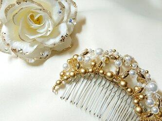 ☆バレエ バラとゴールドの髪飾り 白☆の画像