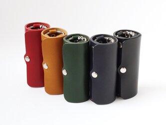 縦置きできる円筒型キーケース Standard【受注生産 本革製 革5色・糸10色】の画像