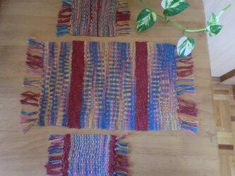 手織テーブルセンターとコースターのセットの画像