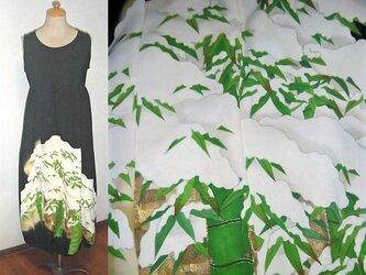 Sold Out留袖リメイク★雪が積もる竹藪が素敵な留袖バルーンワンピース★正絹・手書き・フォーマルの画像