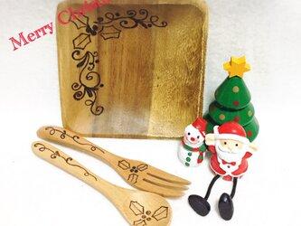 クリスマス会のプレゼントに最適♡   ケーキプレートセット 柊 大量オーダーお値引きいたしますの画像