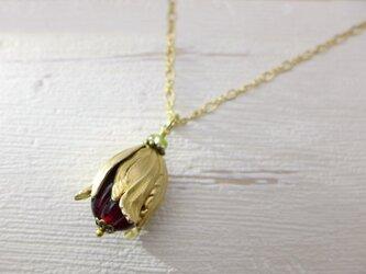 実・つぼみのネックレス 真紅 赤:真鍮 ガラス ビンテージ ヴィンテージの画像