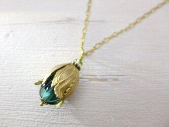 実・つぼみのネックレス ラムネの瓶の色 青緑:真鍮 ガラス ビンテージ ヴィンテージの画像