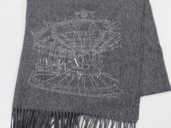 30%オフ★メリーゴーラウンド刺繍ウールストール(グレー)の画像