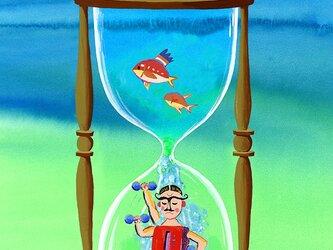 Mrマッスル-水時計 M-A4-05  アクリル画 CG イラスト   水時計 海 魚 の画像