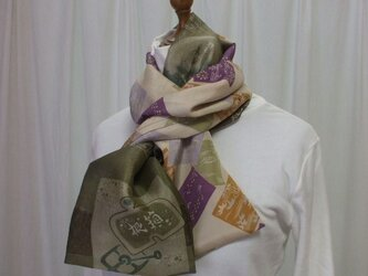 アンティーク長襦袢からのストール 絹の画像